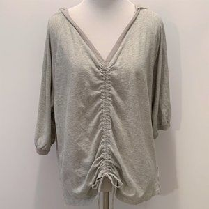 Free People Gray Hoodie Cotton Slouchy Cozy Top